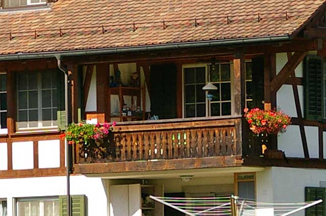 Example of a wooden balcony on an old traditional country ...