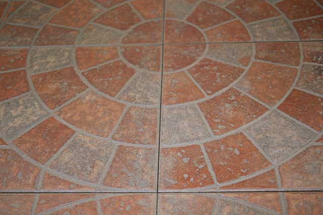Photo example of a floor tile with a circular design for Terrace floor tiles