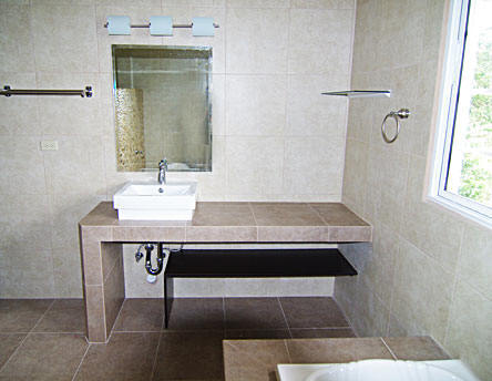 Building Of Bathroom Vanities With Concrete And Covered